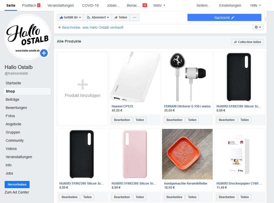 """You are currently viewing Facebook """"Shops"""""""